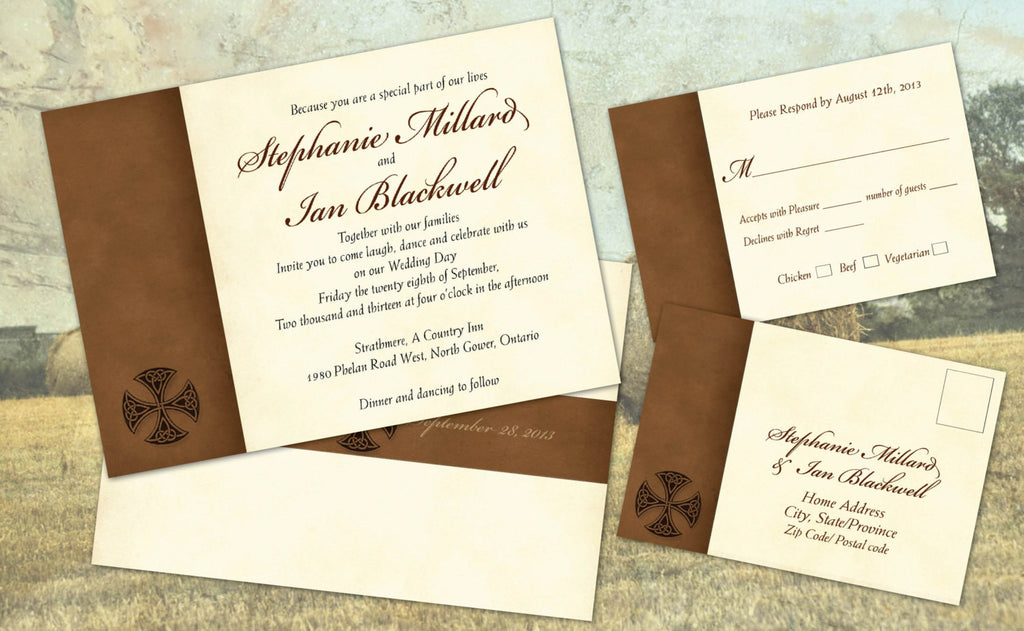 Irish Celtic Old English Local Wedding Invitation Set | Natural Aged ...