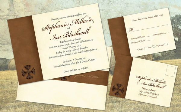 Irish Celtic Old English Local Wedding Invitation Set | Natural Aged Paper | Suede Brown - idowithyouweds