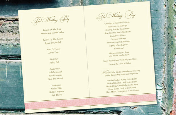 Wedding Program Itinerary Destination Wedding | Palm Trees | Blush Pink Gold Accents - idowithyouweds