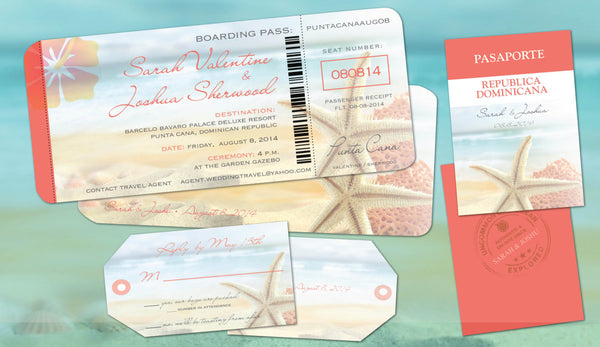 Starfish Destination Wedding Coral | Boarding Pass | Luggage Tag Reply | Passport Itinerary | Mexico Dominican Jamaica Cabo - idowithyouweds