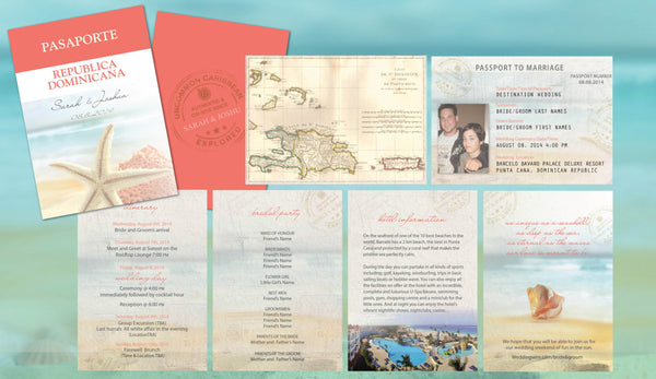 Destination Wedding Travel Passport Invitations | Coral Aqua Starfish | Punta Cana Mexico Cabo Jamaica - idowithyouweds