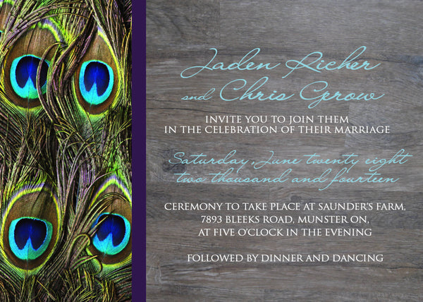 Peacock Feather Local Wedding Invitation Set | Brilliant Turquoise | Grey Barn Wood | Aqua and Purple | Country Chic - idowithyouweds
