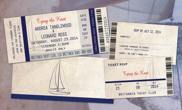 Wedding Invites with Ticket Reply Nautical | Navy Tie the Knot | Yacht Club Cruise - idowithyouweds