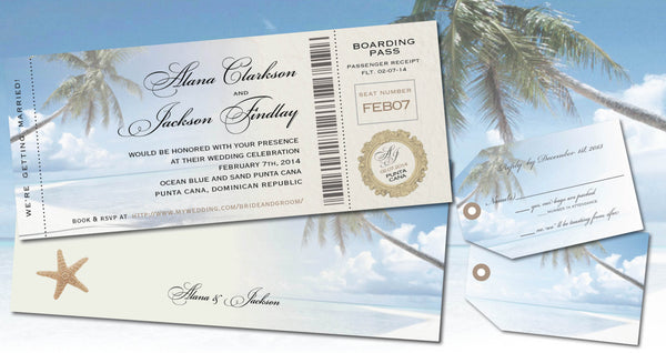 Destination Boarding Pass with Luggage Tag Reply | Palm Tree | Aqua Blue | Gold Accents - idowithyouweds