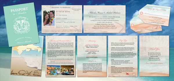 Wedding Passport Invitations Destination Ceremony | Teal with Coral & Peach | Luggage Tag Reply Cards - idowithyouweds