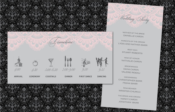 Wedding Program Itinerary | Timeline and Bridal Party | Vintage Blush Lace - idowithyouweds