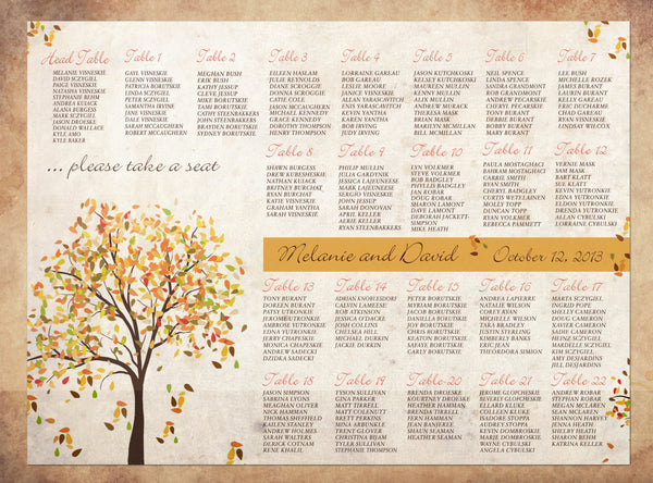 Large Seating Chart Fall Leaves Trees | Orange Burnt Red Yellows Digital Print - idowithyouweds