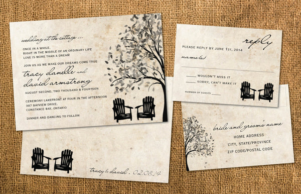 Cottage Country Rustic | Local Wedding Outdoors Invitation Set | Adirondack Chairs | Tree Silhouette | Aged Antique Paper - idowithyouweds