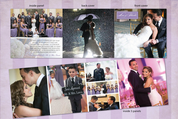 Elegant 3 Panel Fold Wedding Thank You Cards | Purple Mauve | Photo Collection - idowithyouweds