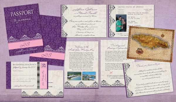 Vintage Wedding Passports to Jamaica Mexico Punta Cana | Vintage Purple Damask | Luggage Tag Reply Cards | Destination Weddings - idowithyouweds