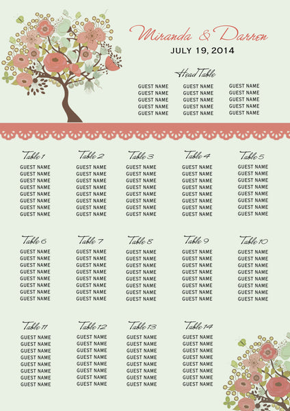 Vintage Peach Tree Wedding Seating Chart | Guest Table Arrangements | Rustic Quaint - idowithyouweds