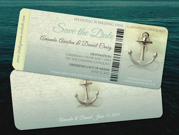 Save the Date Destination Cruise Wedding | Aqua Teal Travel Wedding | Vintage Retro Anchors Away - idowithyouweds