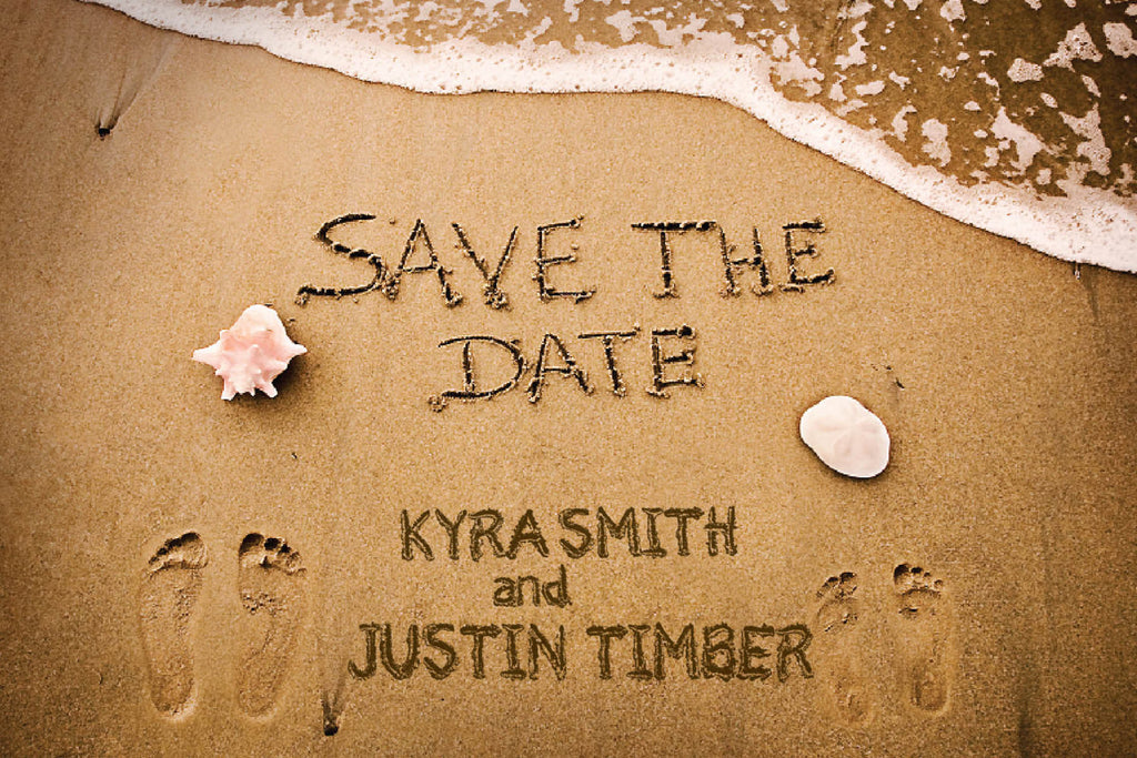 Sandy Beach Wedding Save The Dates Footprints In The Sand