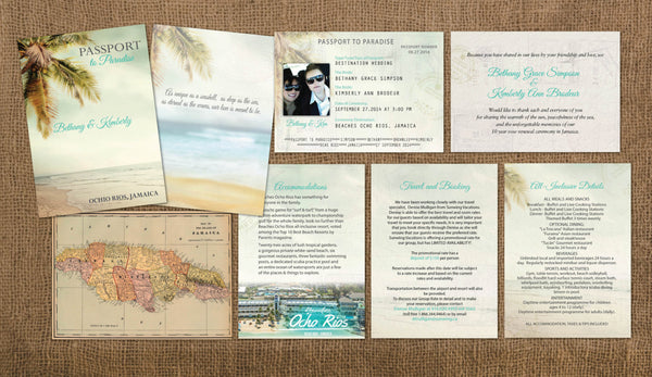 LGBT Wedding Passport Style Invitations | Same Sex Couples | Vintage Palms | jamaica Mexico Dominican Cabo Caribbean - idowithyouweds