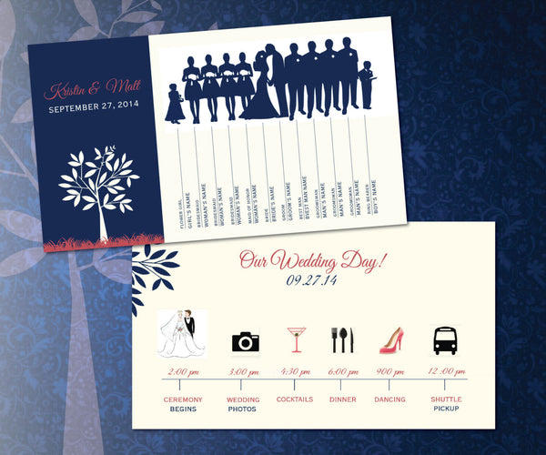 Wedding Itinerary Program | Graphic Icons Silhouette of Bridal Party | Cream Tree Outline - idowithyouweds