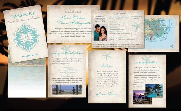 Passport Wedding Invitations | Paradise Destination Wedding | Fiji Bali Mexico Cabo Dominican | Teal Starfish| Rustic Natural Paper - idowithyouweds