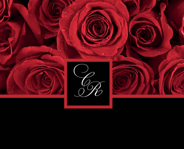 Red Rose Invitations for your Local Wedding | Deep Crimson with Black Background | Romantic Rich Elegant | Initials Monogram - idowithyouweds