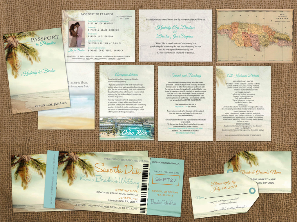 Vintage Passports Boarding Pass Palm Tree Destination Set: Wedding ...