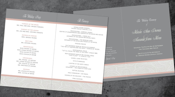 Itinerary Wedding Programs Charcoal Grey & Blush Pink | Church Ceremony | White Lace Border| Bridal Party | Church Wedding | Itinerary - idowithyouweds