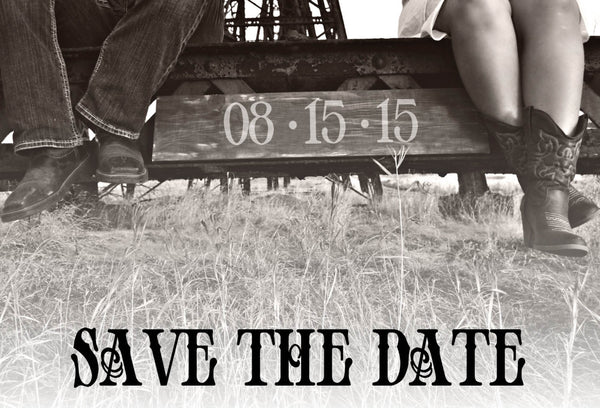 Western Save the Date Cards | Wood Background | His & Her Cowboy Boots - idowithyouweds
