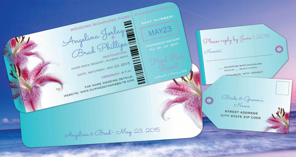 Wedding Destination Boarding Pass Invitation | Luggage Tag Reply | Beach Tropical Aqua Flowers - idowithyouweds