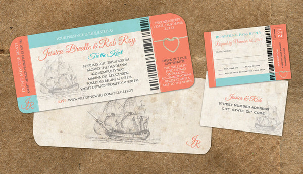 Cruise Board Pass | Nautical Weddings on Yachts Ships | Tie the Knot | Vintage Blue Coral | Ship Sailing - idowithyouweds