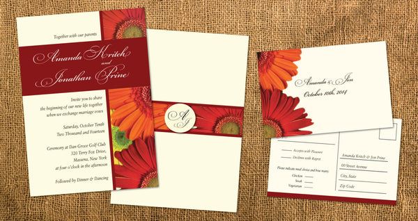 Local Wedding Invitation Set | Bright Fall Gerbera Daisy | Rust Orange Gold Copper - idowithyouweds