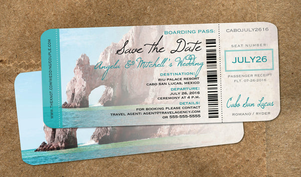 Wedding in Cabo Save the Date Boarding Pass | Cabo Mexico | Aqua El Arco Rock | Baja Destination Wedding - idowithyouweds