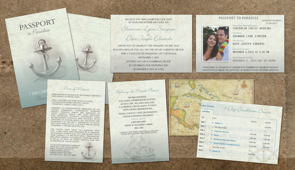 Cruise Passport Wedding Invitations | Nautical at Sea | Caribbean Ocean Adventure | Anchors Away - idowithyouweds