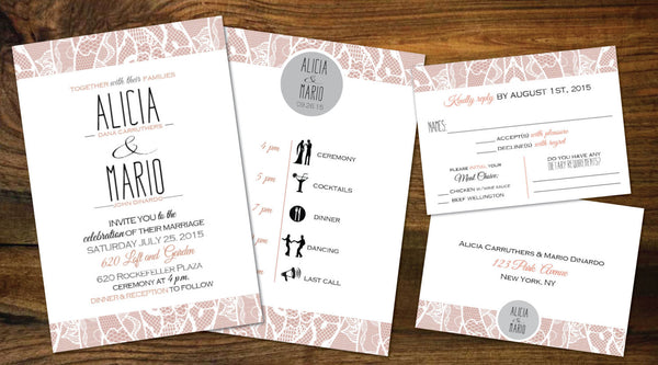 Cottage Chic Blush Coral & Soft Grey Local Wedding Invitation Set | White Lace Borders | Classic Vintage Fonts | Graphic Itinerary Schedule - idowithyouweds