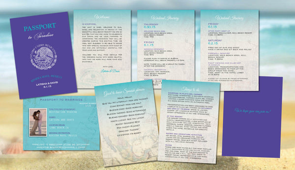 Welcome Passport Itinerary Programs | Beach Wedding | Turquoise Aqua | Destination Welcome Letter | Wedding Day Events | I do - idowithyouweds