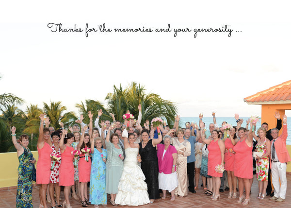 LGBT Thank You Cards Destination Wedding | Photos Collage | Coral Aqua Beach & Ocean | Brides and Grooms | Personal Thanks - idowithyouweds