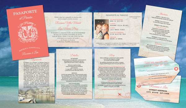 Spanish Destination Passports | Coral Beach Aqua | Passports with Luggage Tag Reply Cards | Both Languages - idowithyouweds