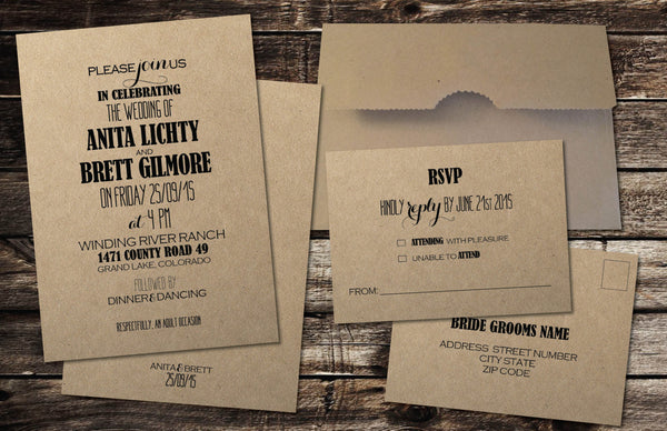 Kraft Local Wedding Invitation Set | Budget Friendly Kraft Brown Bag Envelopes | Vintage Chic | Art Fonts Design - idowithyouweds