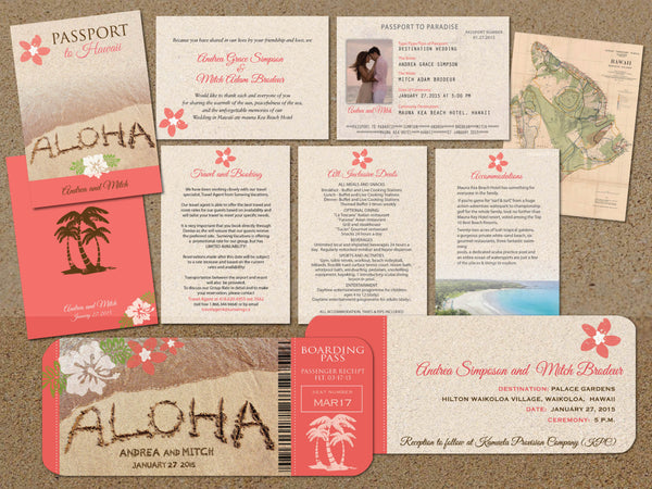 Hawaii Wedding Passport with Boarding Pass Set | Destination Weddings | Big Island | Coral Hibiscus | Beach Ceremony - idowithyouweds