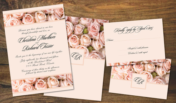 Vintage Blush Roses Wedding Invitation Set | Cottage Chic | Country Romance | Affordable Wedding Invites - idowithyouweds