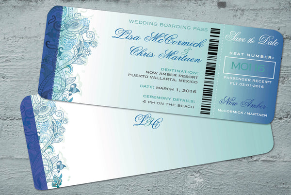 Save the Date Travel Boarding Pass Ticket | Aqua Teal Blue Design | Mexico Cabo Riviera Wedding | Caribbean Resort - idowithyouweds