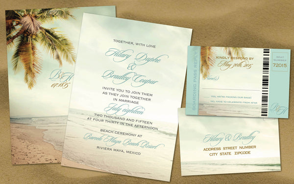 Vintage Palm Beach Wedding Invitation Set with Reply Boarding Pass | Sand Beach | Destination Wedding Caribbean Locales - idowithyouweds