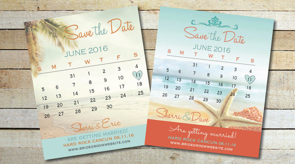 Calendar Months Save the Date Fridge Magnets | Destination Wedding Save the Date | Coral Aqua Blue | Full Custom - idowithyouweds