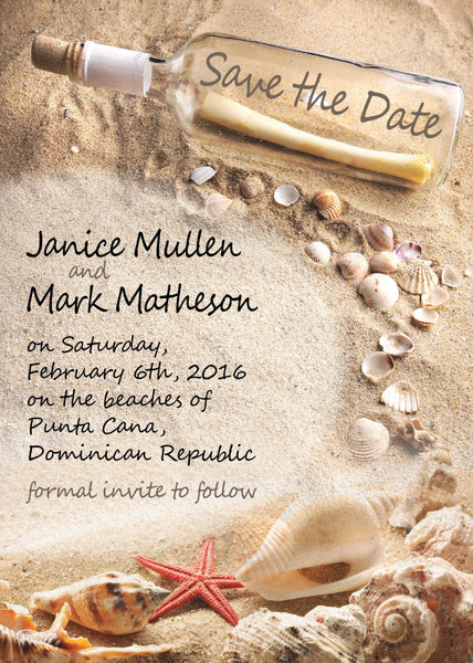 Save the Date Message in a Bottle | Destination Wedding | Hearts Monogram Initials Sand | Beach Shells | Upcoming Wedding - idowithyouweds
