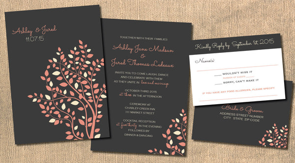 Peach with Ivory Leaves 'n Branches Local Wedding Invitation Set | Cottage Chic | Charcoal Background | All Seasons - idowithyouweds