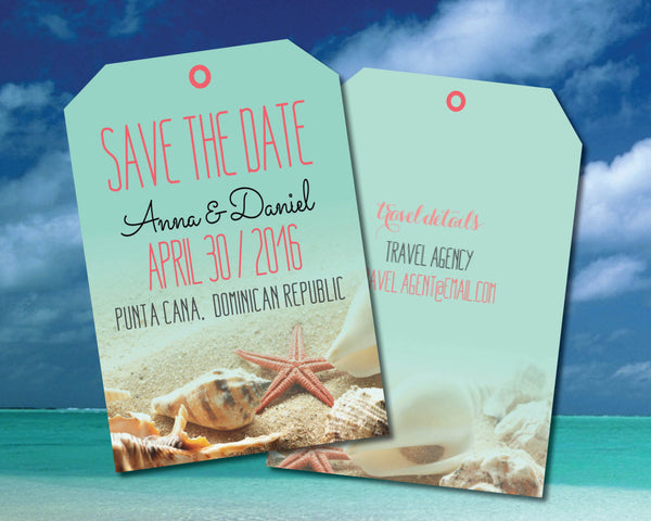 Save the Date Luggage Tag | Destination Wedding |Coral Starfish Aqua Beach | Sand Seashells | Punta Cana | Mexico - idowithyouweds