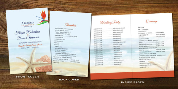 Jamaica Wedding Programs Itinerary Folded | Tropical Coral Bird of Paradise | Destination Wedding | Mexico Cabo Punta Cana Itinerary - idowithyouweds