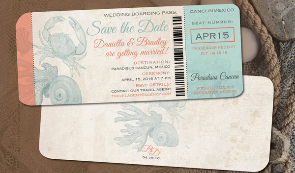 Save the Date Sea Creatures | Boarding Pass| Peach Coral | Destination Wedding | Vintage Shells | Aqua | Aged Paper | Mexico | Dominican - idowithyouweds