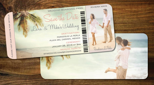 Couple Photo Save the Date Boarding Pass | Beach Scene | Blush n Golds | Travel Wedding | Mexico | Dominican | Vintage Palm - idowithyouweds