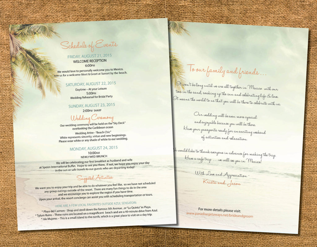 Wedding Itinerary Schedule | Destination Welcome Card | Tote Bag ...
