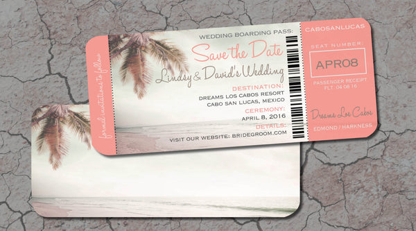 Save the Date | Sepia Coral Cream | Rustic Vintage Palm Tree | Los Cabos Baja Wedding - idowithyouweds