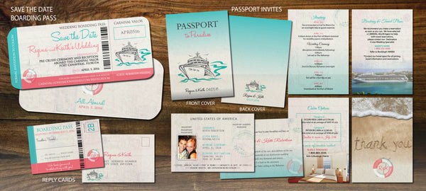 Cruise Wedding Invitation Set | All Aboard | Save The Date Boarding Pass | Passport Booklets | Board Pass Reply | Coral Aqua Teal - idowithyouweds