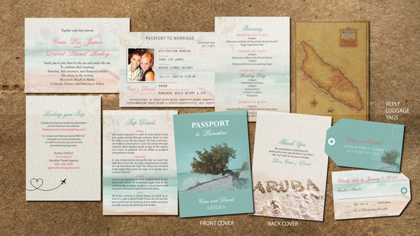 Aruba Wedding Passports to Paradise | Destination Wedding Invitations | Teal Aqua Coral | All Destination Beach Ceremony | Antique Map - idowithyouweds