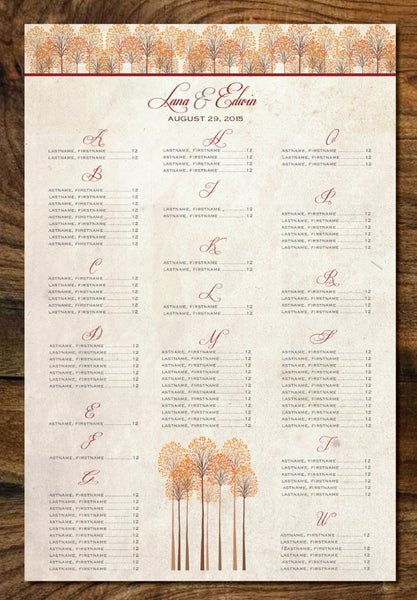 Wedding Seating Chart Fall Trees Alpha Last Names | Orange Reds Golds | Table Chart | Guests Seating Arrangements - idowithyouweds